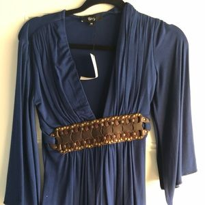 Navy sky shirt with brown leather